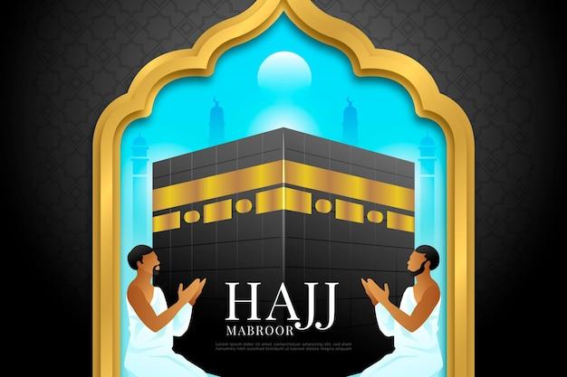 Realistic islamic hajj pilgrimage illustration