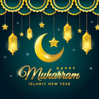 Realistic islamic new year background