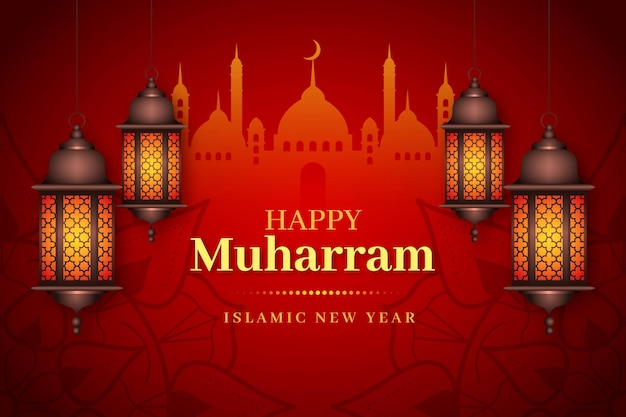 Realistic islamic new year background