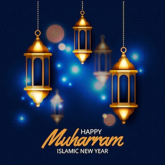 Realistic islamic new year concept