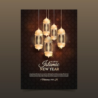 Realistic islamic new year poster concept