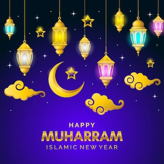 Realistic islamic new year poster
