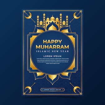 Realistic islamic new year vertical poster template