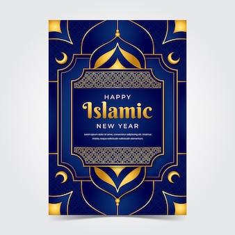 Modello di poster verticale realistico per il capodanno islamico