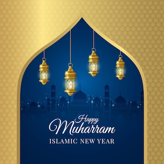 Realistic islamic new year with greeting