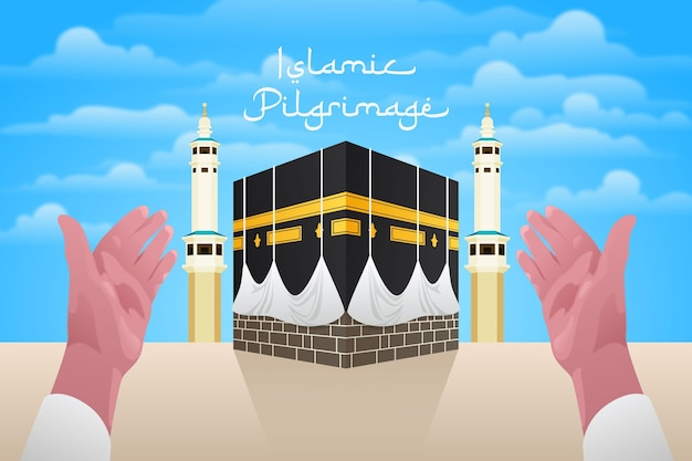 Realistic islamic pilgrimage and hands