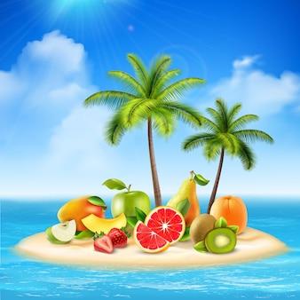 Realistic island full of fruits