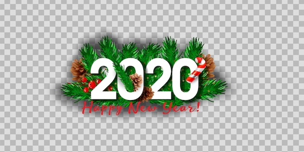 Realistic isolated 2020 logo with christmas tree branches.