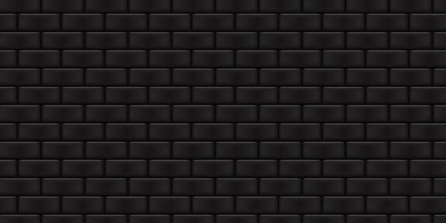 Реалистичная изолированная черная кирпичная стена фон для оформления шаблона и макета.