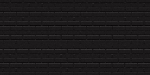 Realistic isolated black brick wall background for template and layout decoration.