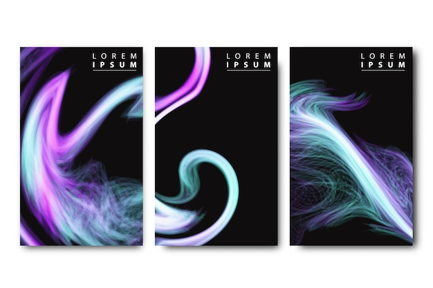 Realistic isolated brochure with liquid and wave cover design