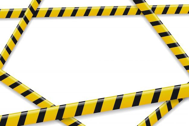 装飾と白い背景の上をカバーするための現実的な分離注意テープフレーム。バリケード、危険、犯罪の概念。