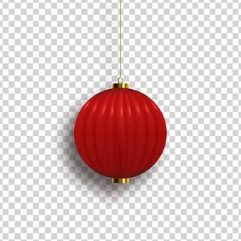 Realistic isolated chinese lantern for template decoration and covering on the transparent background.