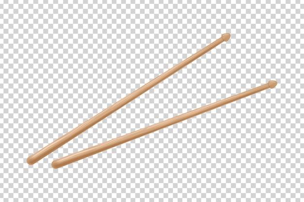 Realistic isolated drumsticks on the transparent background.