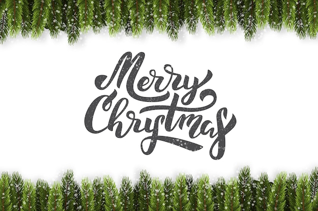 Realistic isolated lettering for merry christmas with fir border for decoration and covering on the white background