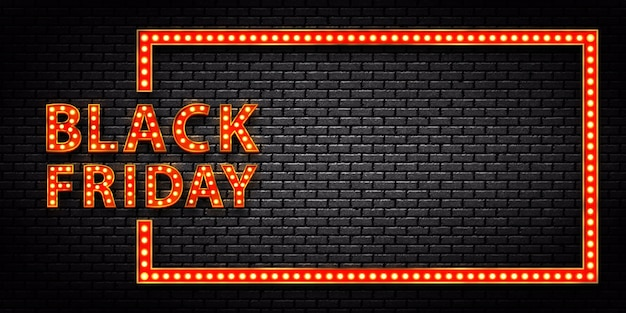 Realistic isolated marquee light bulb frame of black friday