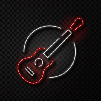 Realistic isolated neon retro sign of guitar on the transparent background for decoration and covering. concept of music shop, dj, musical pub and rock concert.