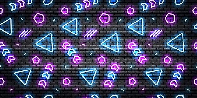 Реалистичные изолированные неоновые бесшовные модели с синими и фиолетовыми цветами.