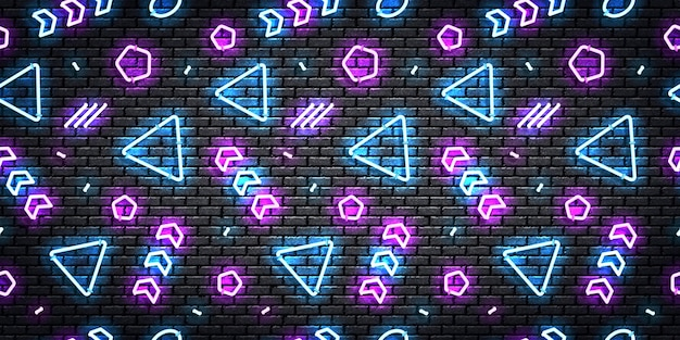 Realistic isolated neon seamless pattern with blue and purple colors.