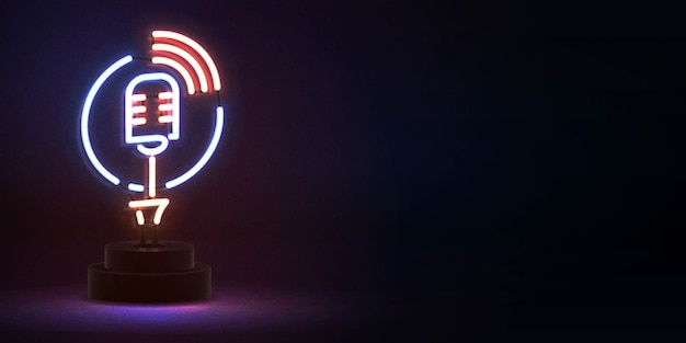 Realistic isolated neon sign of on air microphone