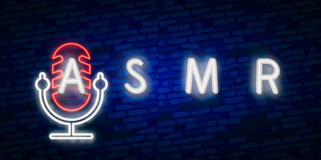Realistic isolated neon sign of asmr