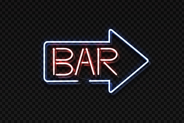 Realistic isolated neon sign of bar lettering arrow.