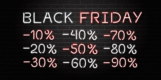 Realistic isolated neon sign of black friday lettering and sale discount numbers