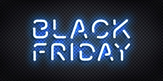 Realistic isolated neon sign of black friday for template decoration and invitation covering on the transparent background. concept of sale, special offer and discount.