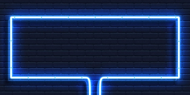 Realistic isolated neon sign of blue rectangle frame for template and layout on the wall background.