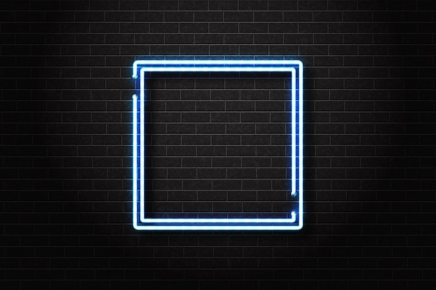 Realistic isolated neon sign of blue square frame for template decoration and invitation covering on the wall background.
