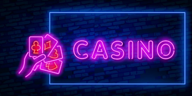 Realistic isolated neon sign of casino