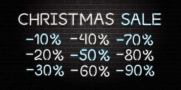 Realistic isolated neon sign of christmas sale logo on the wall background. concept of happy new year.