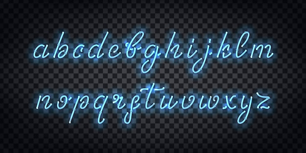 Realistic isolated neon sign of cursive font for template decoration and covering on the transparent background.