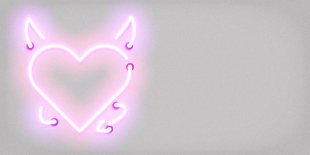 Realistic isolated neon sign of devil heart