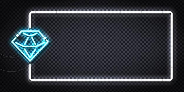 Realistic isolated neon sign of diamond flyer logo.