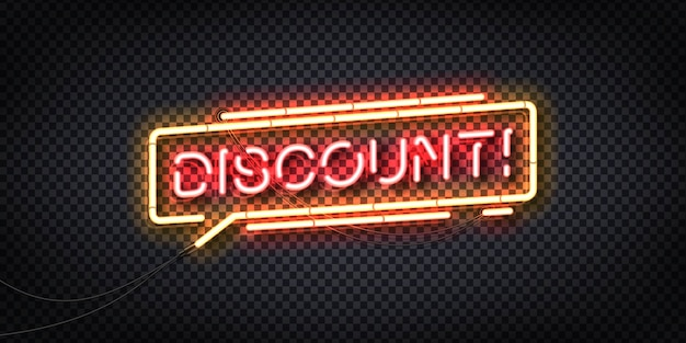 Realistic isolated neon sign of discount logo for template decoration and invitation design.