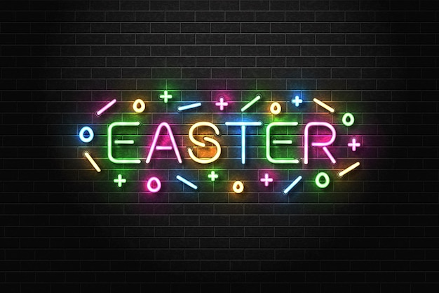 Realistic isolated neon sign of easter.