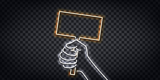 Realistic isolated neon sign of fist holding a protest sign logo for template decoration and layout covering on the transparent background.