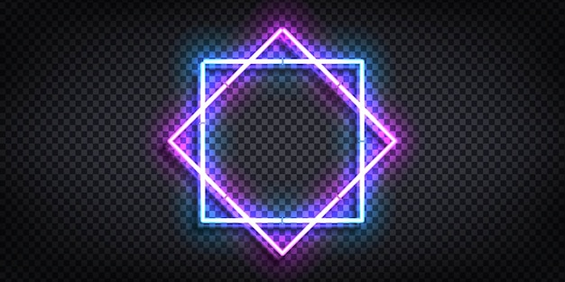 Realistic isolated neon sign of frame for template and layout.