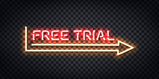 Realistic isolated neon sign of free trial frame logo for template decoration and layout covering on the transparent background.