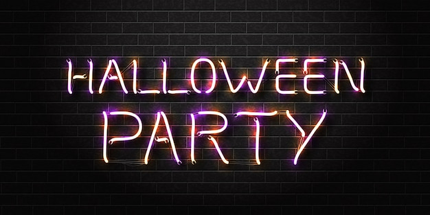 Realistic isolated neon sign of halloween party Premium Vector
