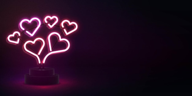 Realistic isolated neon sign of heart with copy space for invitation background. concept of happy valentines day.