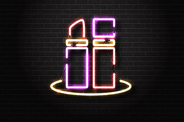 Realistic isolated neon sign of lipstick.