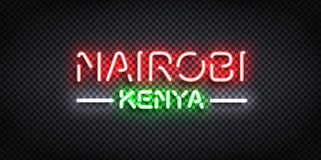 Realistic isolated neon sign of nairobi, kenya.