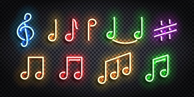Realistic isolated neon sign of notes