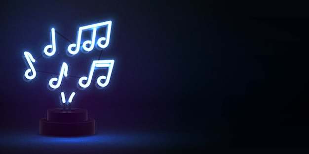 Realistic isolated neon sign of notes Premium Vector
