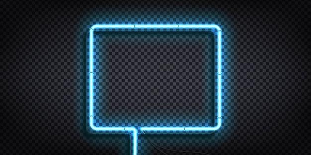 青いフレームの現実的な孤立したネオンサイン Premiumベクター