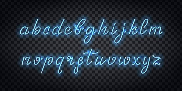 템플릿 장식 및 투명 배경에 대한 필기체 글꼴의 현실적인 격리 된 네온 사인.