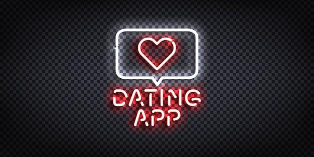 Реалистичная изолированная неоновая вывеска приложения знакомств