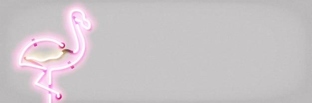 テンプレートの装飾と壁紙のカバーのためのコピースペースとフラミンゴのロゴの現実的な孤立したネオンサイン